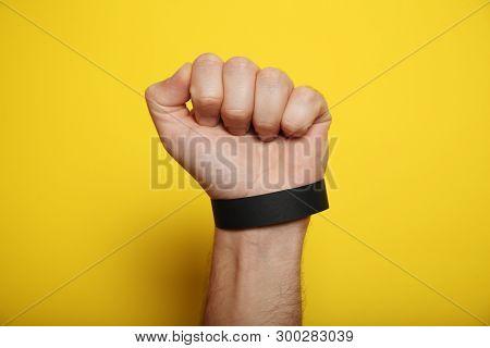 Concert Black Paper Bracelet Mockup, Event Wristband. Arm Activity Accessory, Adhesive, Cheap.