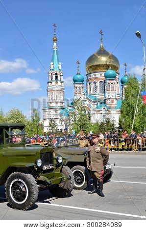 Omsk, Russia - May 9: Military Parade Of Retro Technology Dedicated To Victory Day, The City Of Omsk