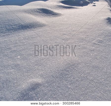 Winter Siberian City Park In Snowdrifts, Omsk Region Russia