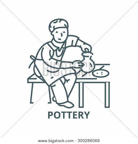 Pottery, Potter, Ceramist Vector Line Icon, Linear Concept, Outline Sign, Symbol