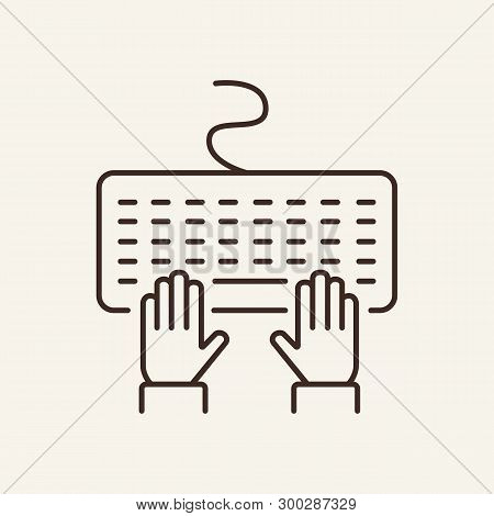 Keyboard Line Icon. Typing, Computer, Email. Author Concept. Can Be Used For Topics Like Journalist,