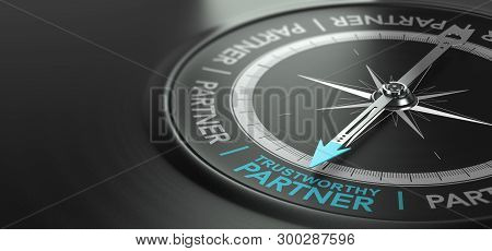 3d Illustration Of A Compass With Needle Pointing The Phrase Trustworthy Partner Over Black Backgrou