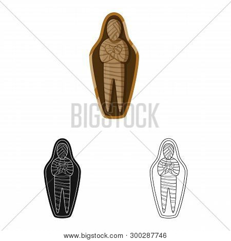 Vector Design Of Mummy And Ancient Logo. Collection Of Mummy And Afterlife Stock Symbol For Web.