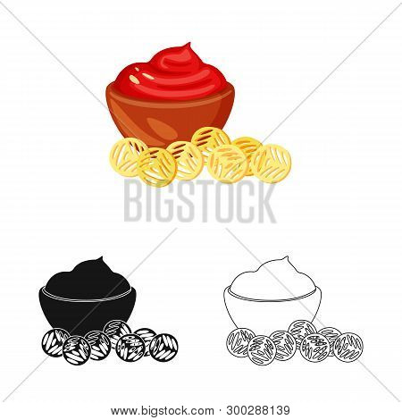 Vector Design Of Snack And Croutons Icon. Set Of Snack And Bread Stock Symbol For Web.