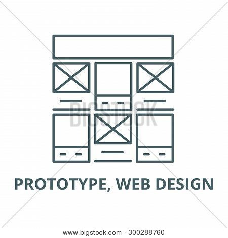 Prototype, Web Design Vector Line Icon, Linear Concept, Outline Sign, Symbol