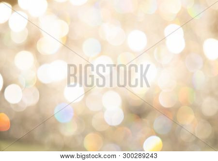 Abstract photo of backlight reflector and glitter bokeh lights car on the road background. Image is blurred and made with colorful filters. poster