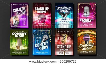Collection Of Comedy Show Poster Cards Set Vector. Microphones, Bright Confetti, Multicolored Curtai