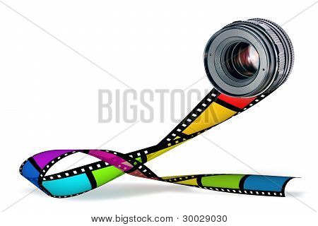 Lens & Color Film Strip On White