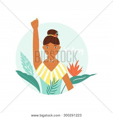 Illustration Of Protesting Girl With Raised Hand. Girl Power, Empowerment Concept. Struggle For Free
