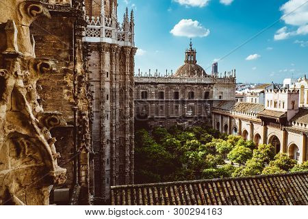 Aerial View Of Seville City And Cathedral Of Saint Mary Of The See In Seville As See From Seen From
