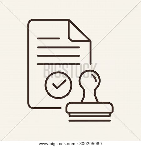 Customs Check Line Icon. Seal, Stamp, Approved Document. Customs Concept. Vector Illustration Can Be