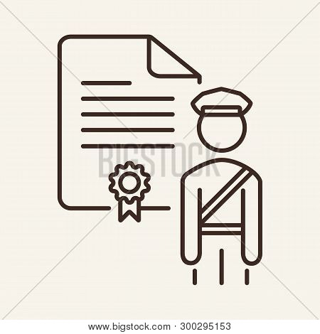 Customs Document Line Icon. Officer, Document With Seal, Certificate. Customs Concept. Vector Illust