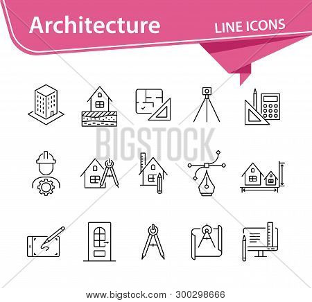 Architecture Line Icon Set. Engineer, Ruler, Compass, Blueprint, House. Architecture Concept. Can Be