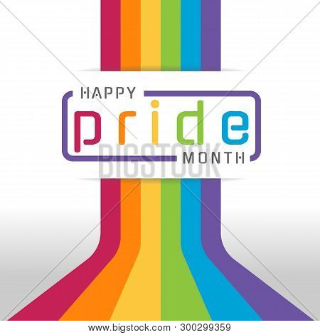 poster of Happy pride month banner with typography text on line colorful rainbow Bend up vector design