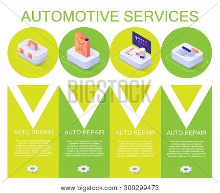 Banner with Offering Automotive Services Description. Template with Isometric Icons of Auto Tools Box, Paints Kit, Tank with Oil or Gasoline and Informative Editable Text. Vector 3d Illustration poster