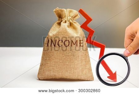 Money Bag With Word Income And Down Arrow. Reduced Revenue And Profits. Reduced Budget. Loss Of Mone