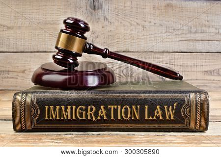 Immigration Law. Judge Gavel On The Book On Wooden Table. Justice And Law Concept. Employment Law.