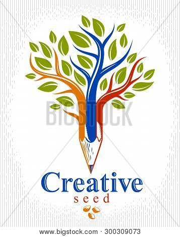 Beautiful Tree With Pencil Combined Into A Symbol, Creativity And Ideas Concept Vector Classic Style