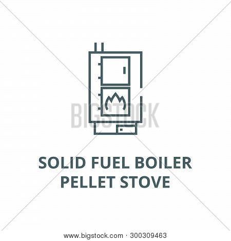 Solid Fuel Boiler, Pellet Stove Vector Line Icon, Linear Concept, Outline Sign, Symbol