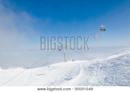 Ski lift on mountain