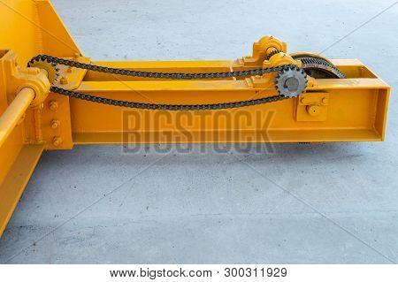 Parts Of A Crane Ready For Installation In The Industrial Plant. Overhead Crane Commonly Called A Br