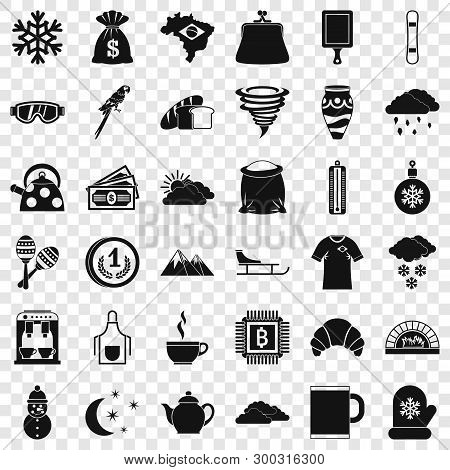Hard Coffee Icons Set. Simple Style Of 36 Hard Coffee Vector Icons For Web For Any Design