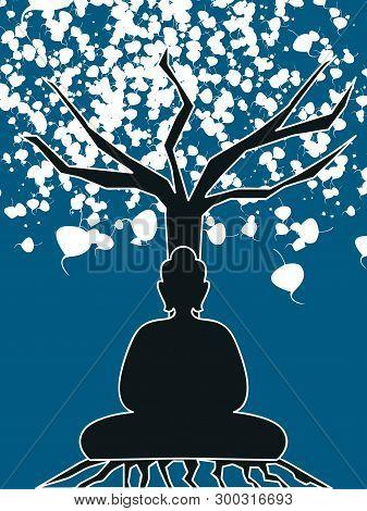 Gautama Buddha Sitting In The Bodhi Tree.happy Vesak Day Illustration Vector Image
