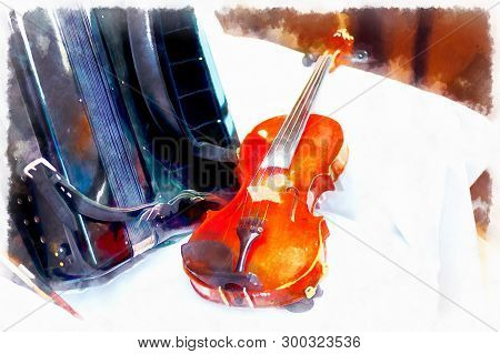 Wedding Stillife With Violin And Accordeon On A White Cloth.