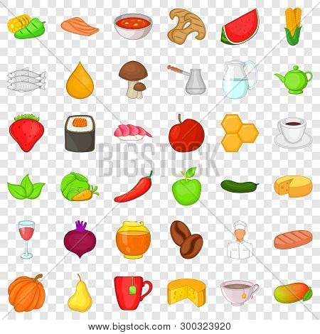 Dietary Food Icons Set. Cartoon Style Of 36 Dietary Food Vector Icons For Web For Any Design