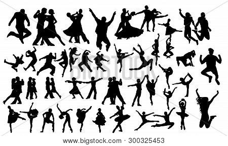 Detailed Vector Illustration Silhouettes Of Expressive Dance People Dancing. Jazz Funk, Hip-hop, Hou