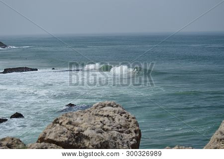 Big Waves On The Beautiful Beach Of Cresmina In Cascais. Photograph Of Street, Nature, Architecture,