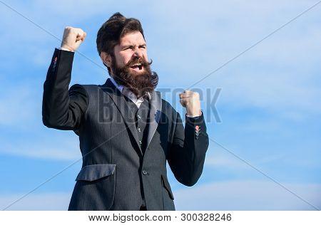 Hopeful And Confident About Future. Man Bearded Optimistic Businessman Wear Formal Suit Sky Backgrou