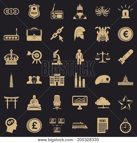 Goverment Icons Set. Simple Style Of 36 Goverment Vector Icons For Web For Any Design