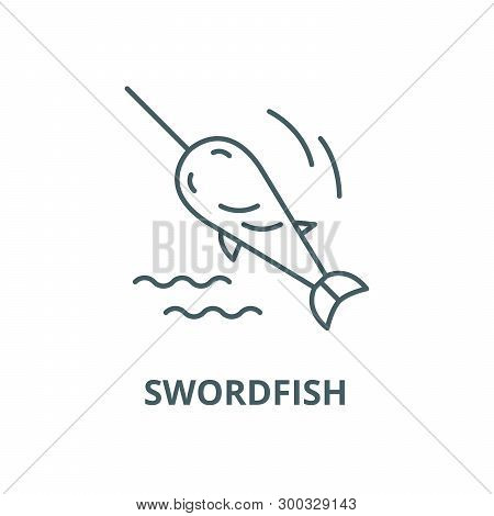Swordfish Vector Line Icon, Linear Concept, Outline Sign, Symbol
