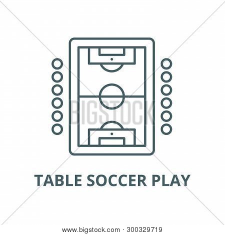 Table Soccer Play Vector Line Icon, Linear Concept, Outline Sign, Symbol
