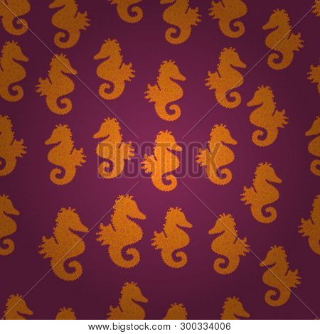 Seahorse Seamless Pattern Background. Hippocampus Vector Cartoon Icon Set Of Underwater Fish And Sil