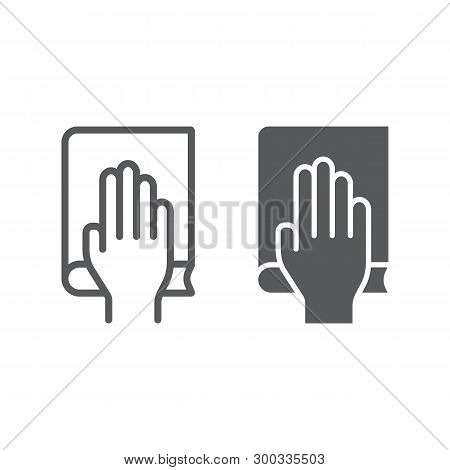 Honestly Line And Glyph Icon, Truth And Trust, Palm On Book Sign, Vector Graphics, A Linear Pattern