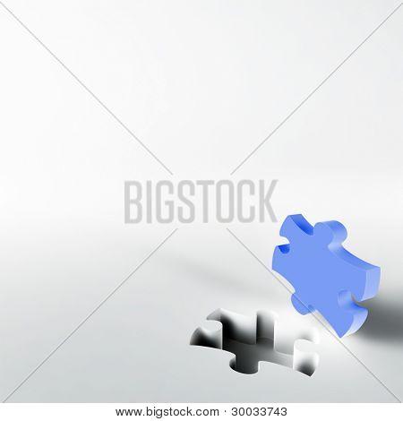 blaue Puzzle in der Ecke des weißen Oberfläche