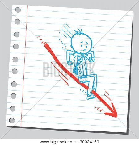 Businessman on arrow slipping down