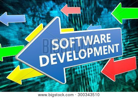 Software Development - Text Concept On Blue Arrow Flying Over Green World Map Background. 3d Render