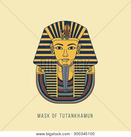 Colorful Vector Burial Mask Illustration Egyptian Golden Pharaohs Mask Icon Flat Isolated On Backgro