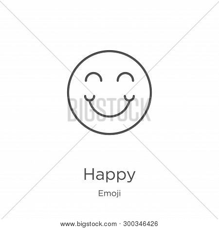 Happy Icon Isolated On White Background From Emoji Collection. Happy Icon Trendy And Modern Happy Sy