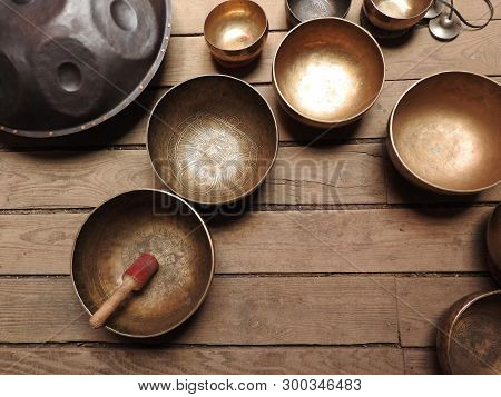 Tibetan Singing Bowl And Other Religious Ritual Instruments For Meditation.