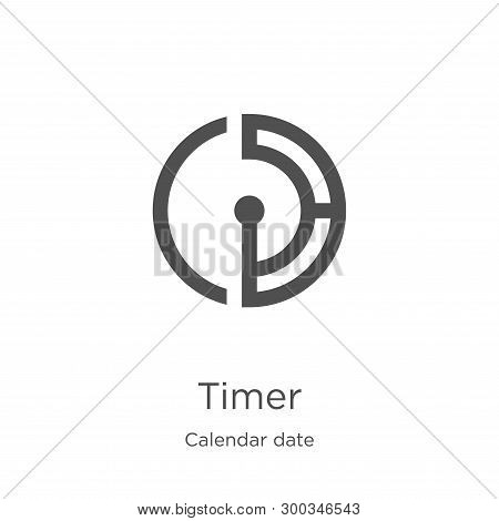 Timer Icon Isolated On White Background From Calendar Date Collection. Timer Icon Trendy And Modern