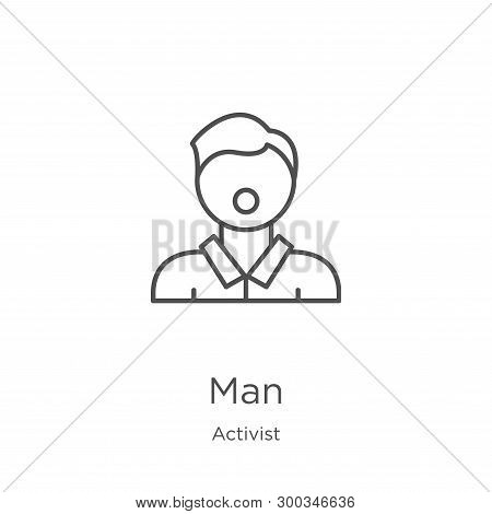 Man Icon Isolated On White Background From Activist Collection. Man Icon Trendy And Modern Man Symbo