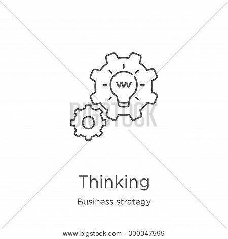Thinking Icon Isolated On White Background From Business Strategy Collection. Thinking Icon Trendy A