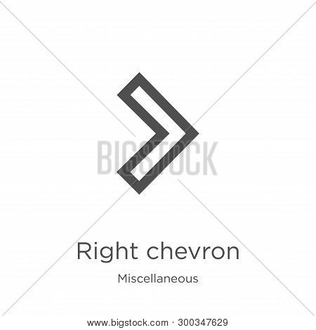 Right Chevron Icon Isolated On White Background From Miscellaneous Collection. Right Chevron Icon Tr