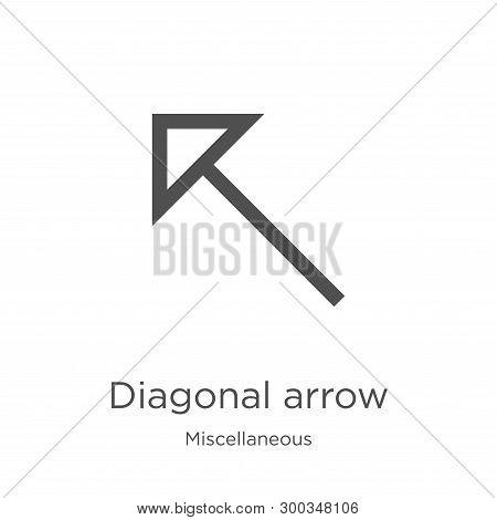 Diagonal Arrow Icon Isolated On White Background From Miscellaneous Collection. Diagonal Arrow Icon
