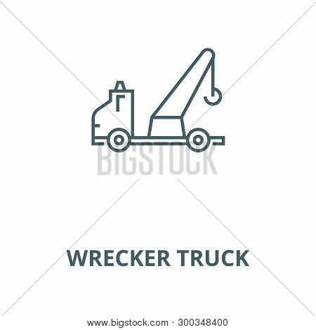 Wrecker Truck Vector Line Icon, Linear Concept, Outline Sign, Symbol