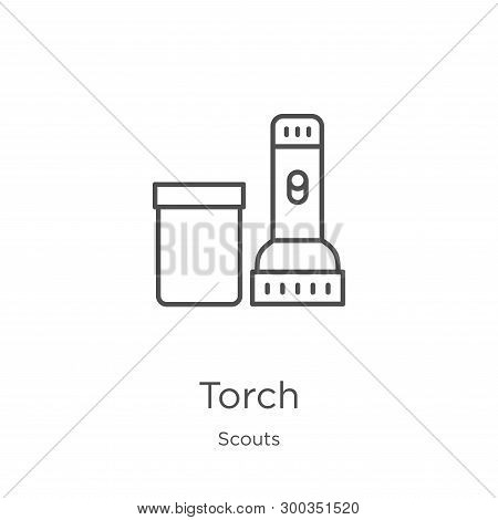 Torch Icon Isolated On White Background From Scouts Collection. Torch Icon Trendy And Modern Torch S